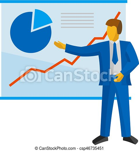 Businessman in blue suit shows a poster with charts. - csp46735451