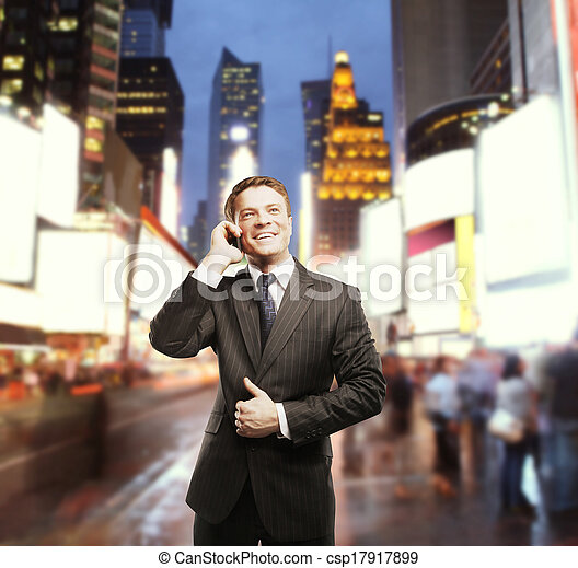 businessman in city - csp17917899