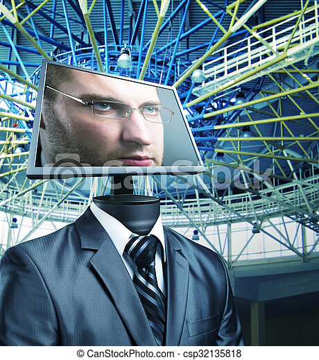 Businessman in cyberspace - csp32135818