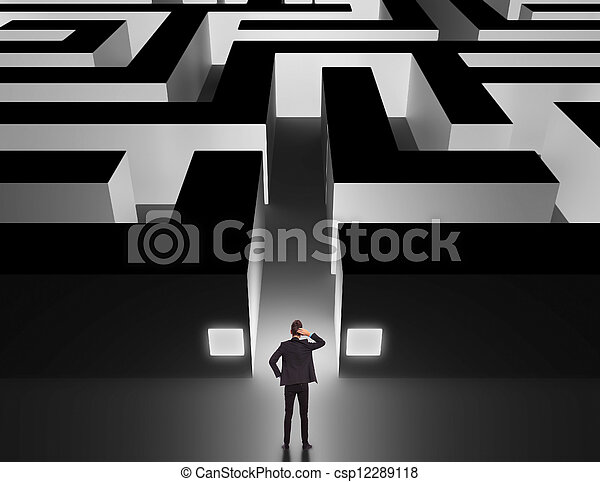 Businessman in front of a huge maze  - csp12289118