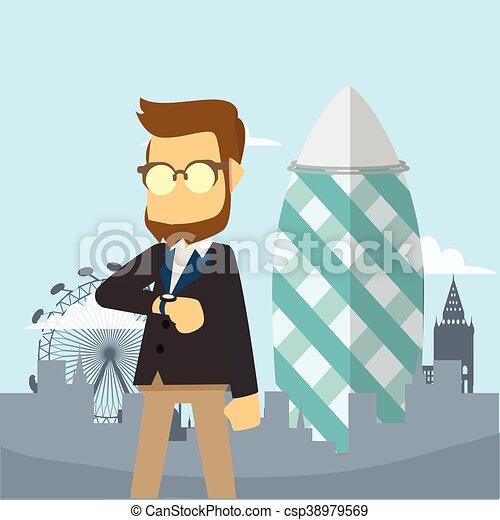 businessman in gherkin tower - csp38979569