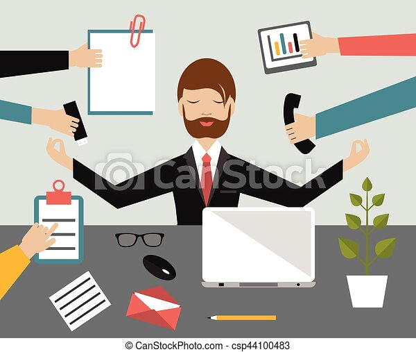 meditation office. Businessman In Lotus Meditation Position Work Office. Multitasking Concept. Flat Illustration. Office