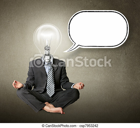 businessman in lotus pose and lamp-head with thought bubble - csp7953242
