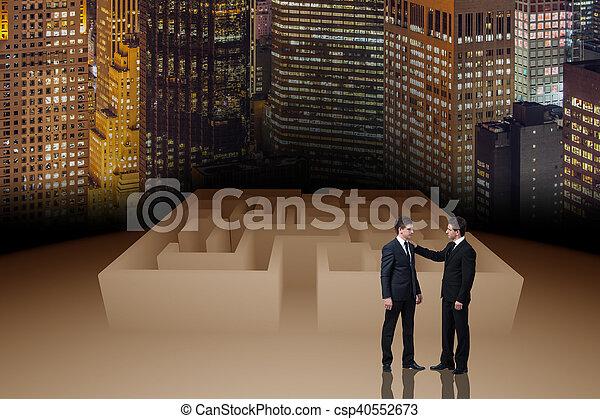 Businessman in maze business concept - csp40552673