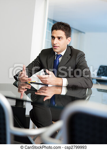 businessman in meeting room - csp2799993
