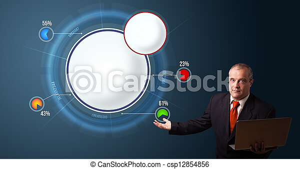 businessman in suit holding a laptop and presenting abstract modern pie chart with copy space - csp12854856
