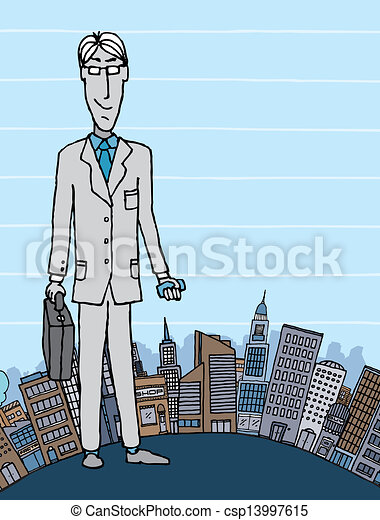 Businessman in the city with copyspace - csp13997615
