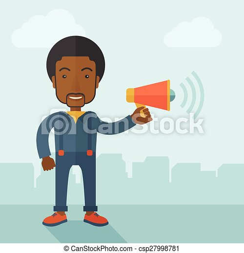 Businessman in the field holding a megaphone. - csp27998781