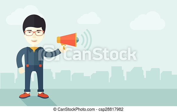 Businessman in the field holding a megaphone. - csp28817982
