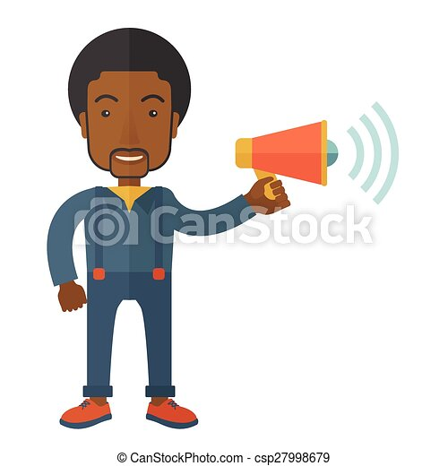 Businessman in the field holding a megaphone. - csp27998679