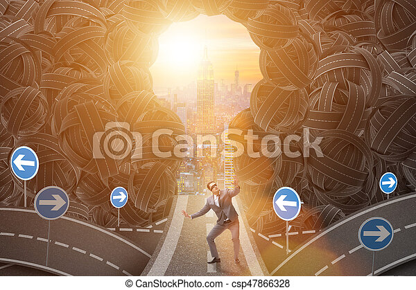 Businessman in uncertainty business concept - csp47866328