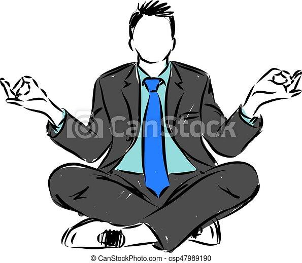 businessman in yoga position vector illustration - csp47989190