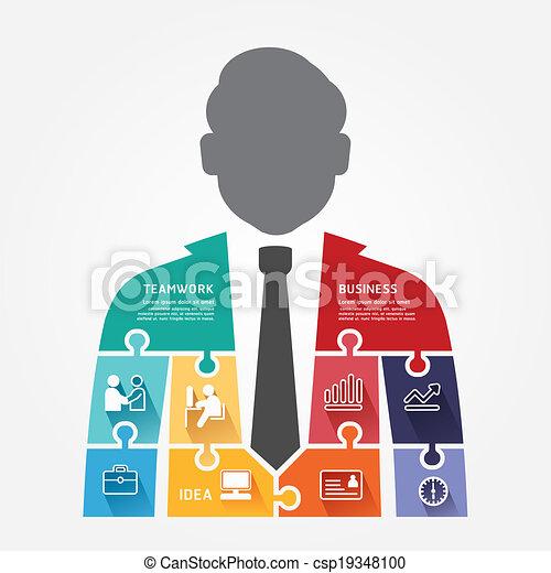 businessman infographic Template jigsaw banner . concept vector illustration - csp19348100