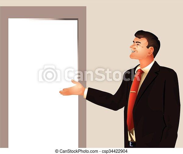 Businessman invites enter - csp34422904