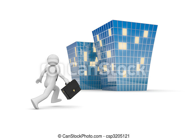 Businessman invites to new office building - csp3205121
