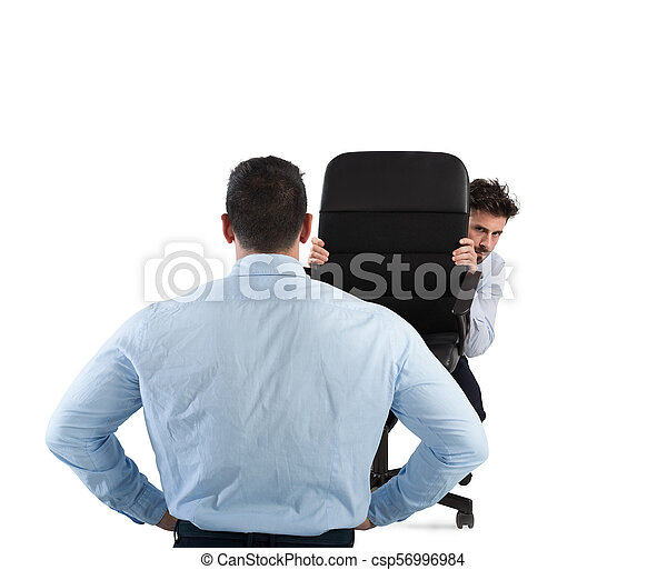 Businessman is afraid of his boss - csp56996984
