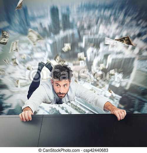 Businessman is going to fall - csp42440683