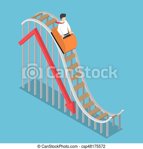 Businessman is Riding on a Roller Coaster with Falling Graph - csp48175572