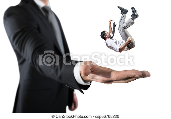 Businessman is saved from a big hand. Concept of business support and assistance - csp56785220