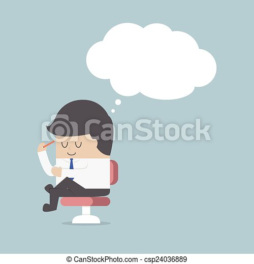 Businessman is thinking while sitti - csp24036889