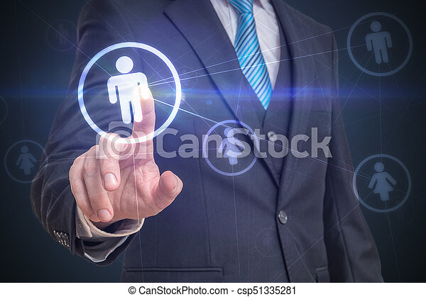 businessman is touching screen with finger and selecting user in
