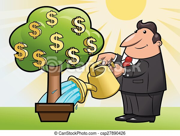 Businessman is watering the money tree 2 - csp27890426