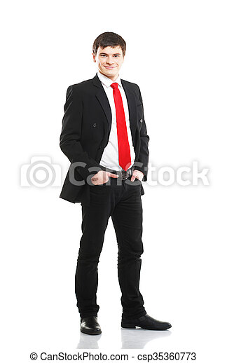 Businessman isolated on white - csp35360773