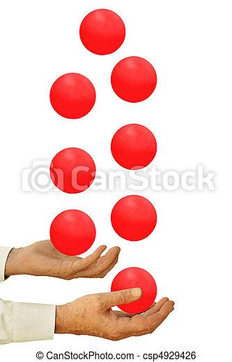 Businessman juggling many balls  - csp4929426