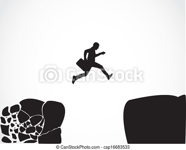 businessman jump risk safe concept - csp16683533
