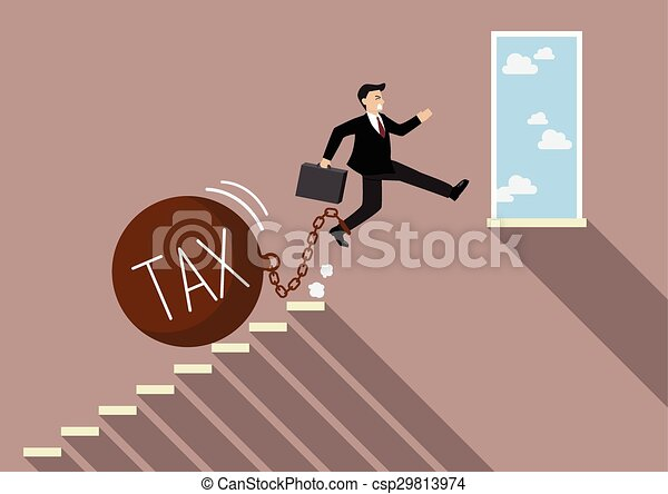 Businessman jumping to success with heavy tax - csp29813974