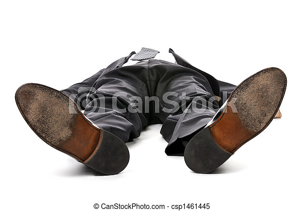Businessman laying down on white background - csp1461445