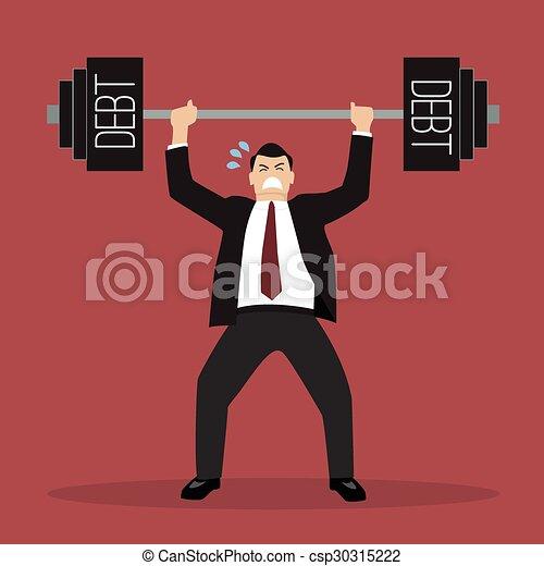 businessman lifting a heavy weight debt - csp30315222
