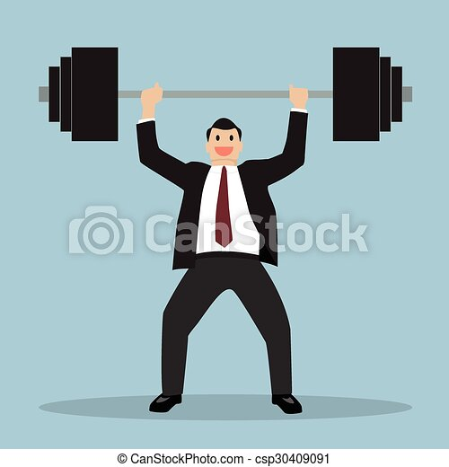 businessman lifting a heavy weight - csp30409091
