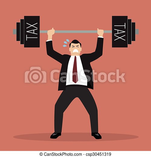 businessman lifting a heavy weight tax - csp30451319