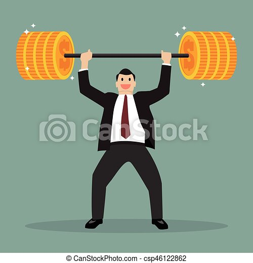 Businessman lifting exercise with barbell coin weight - csp46122862