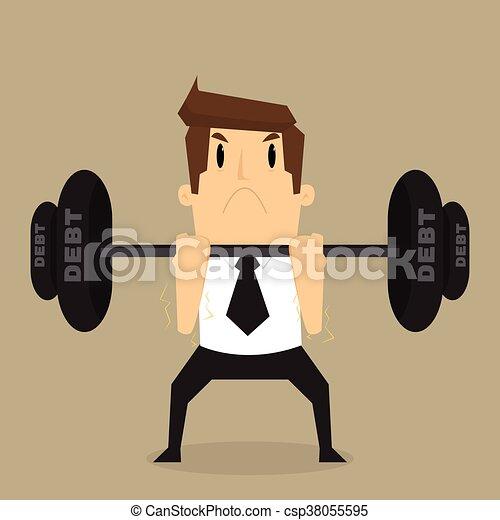 businessman lifting heavy weight debt - csp38055595