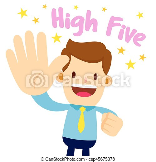 businessman lifting his palm saying high five vector stock rh canstockphoto co uk high five hand clipart high five clipart free