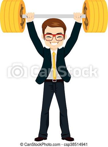Businessman Lifting Up Money - csp38514941