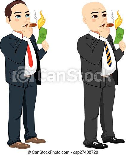 Businessman Lighting Cigar - csp27408720