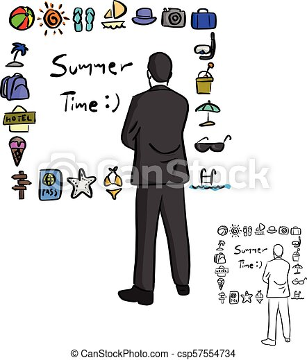businessman looking at summer icon set vector illustration sketch doodle hand drawn with black lines isolated on white background - csp57554734