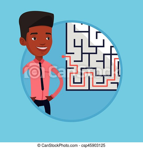 Businessman looking at the labyrinth with solution - csp45903125
