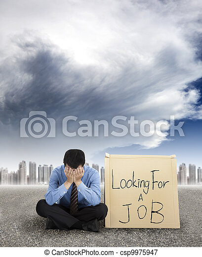 businessman looking for a job and city with storm coming - csp9975947