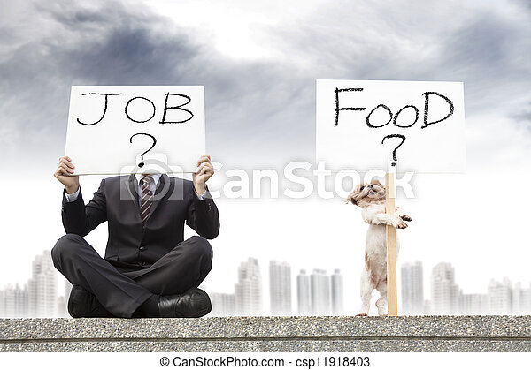 businessman looking for a job and dog looking for the food - csp11918403