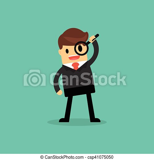 Businessman looking through a magnifying glass. business concept. - csp41075050
