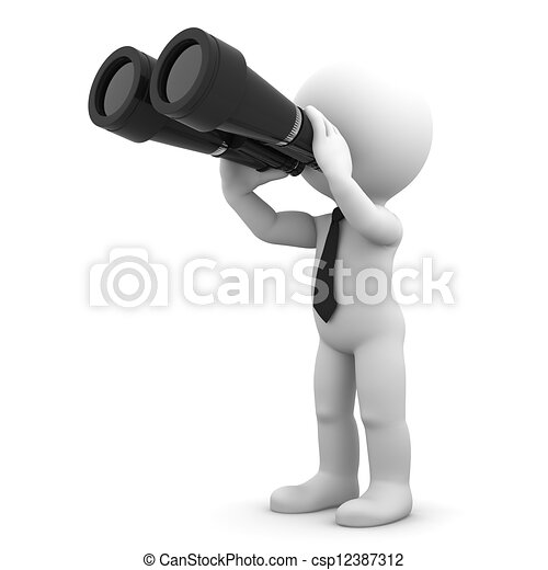 Businessman looking through binoculars - csp12387312