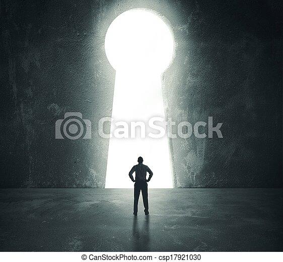 Businessman  looking through key hole - csp17921030