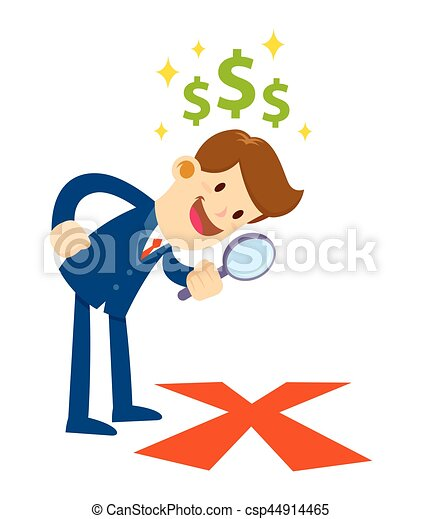 businessman looking through magnifier for x mark the spot clip rh canstockphoto com