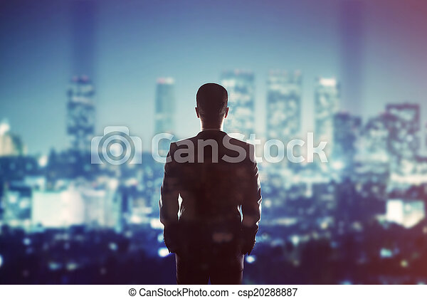 businessman looking to city - csp20288887