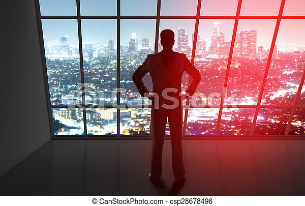 businessman looking to night city - csp28678496