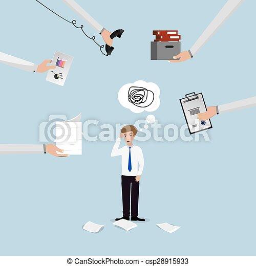 Businessman lot of work - csp28915933